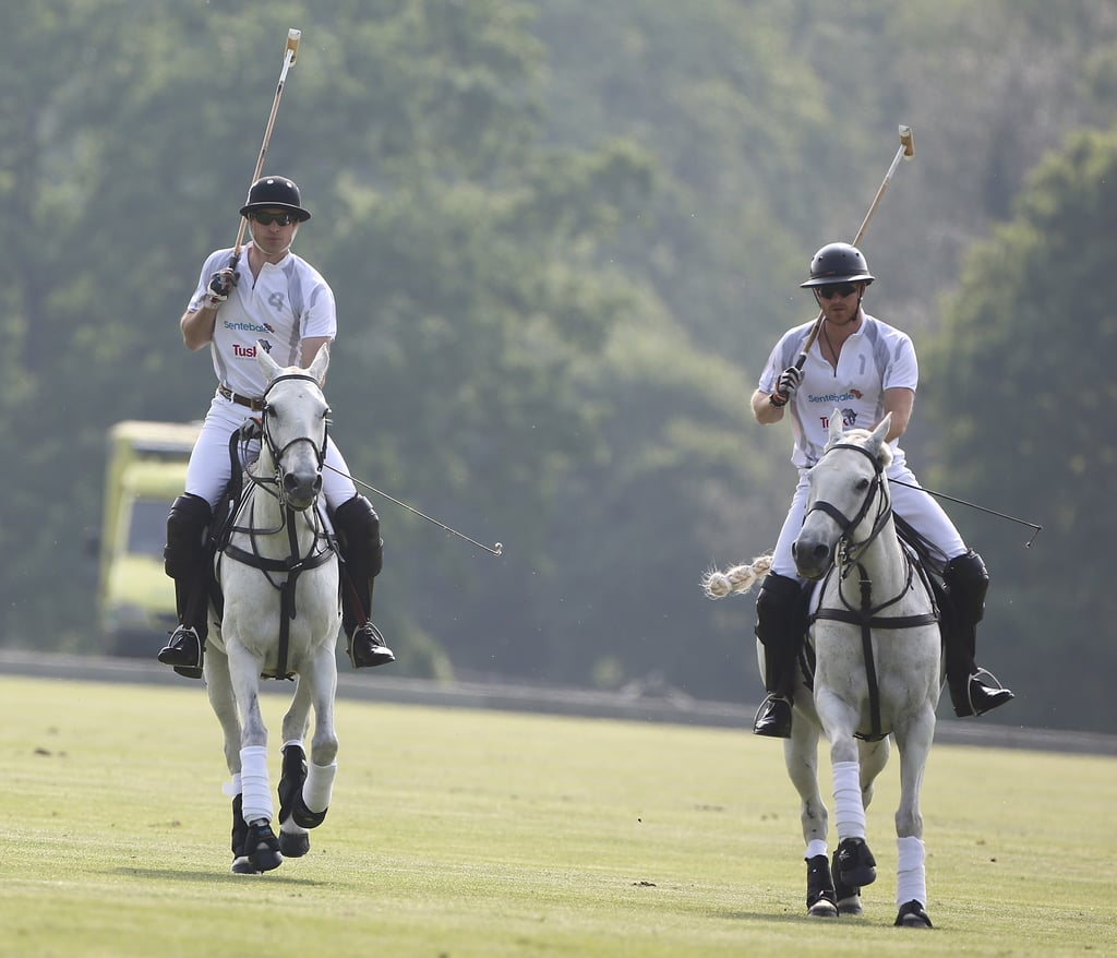 As if we needed another reason to swoon over Prince William and Prince Harry. The brothers made their way down to Coworth Park for the first day of the Audi Polo Challenge in London. While Harry has taken part in a few matches over the years, it's been a while since we've seen these two out on the field together. Before the match, William was spotted prepping on the grass with a series of yoga poses, adding to some of his best moments from the year. The event also brought out fellow English hottie Tom Hardy, who posed with William after the match. Keep reading to see more of William and Harry, then see what else is in store for the royal family in 2016.