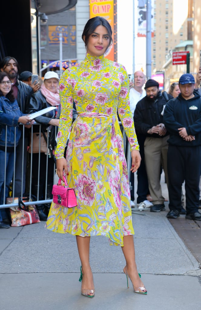 Priyanka Chopra is promoting her new film, A Kid Like Jake, which means her lineup of outfits for talk shows and premieres gets a solid A. The star made a pit stop on Good Morning America while wearing a floral bodysuit ($745) and skirt ($1,295) from Prabal Gurung. To amp up her springtime ensemble, Priyanka carried a small fuchsia top-handle bag from Stalvey, which matched the print in her outfit. She kept the Spring colors coming with a pair of green slingback PVC heels from Gianvito Rossi that had tiny bows on the side. The shoe is on trend for the season, though Priyanka clearly knows that, as she's a bona-fide street style star. The actress also appears to be receiving some styling help from Mimi Cuttrell (Priyanka tagged her in some Instagram photos). FYI: Mimi styles Gigi Hadid, so you're guaranteed to see more amazing outfits from Priyanka herself. Read on to check out her current outfit, then shop similar shoes.      Related:                                                                                                           Priyanka Chopra's Quantico One-Piece Will Induce Major Swimsuit Envy