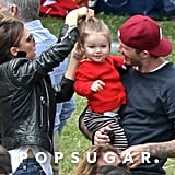 David and Victoria Beckham brought their daughter, Harper, to watch her brother Cruz compete in his school's sports day in July.