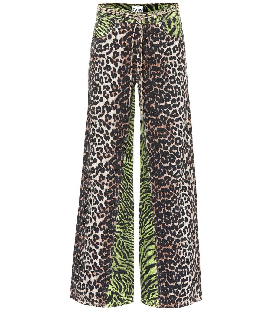 Ganni Leopard-print wide-leg cotton pants