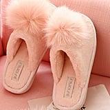 FreLo Pink Plush Pom-Pom Fuzzy Slippers