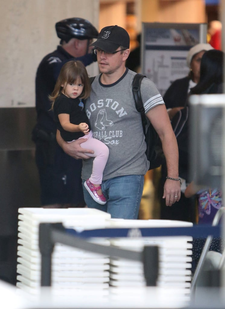 Matt Damon Lands at LAX With His Ladies and Celebrates a Movie Milestone