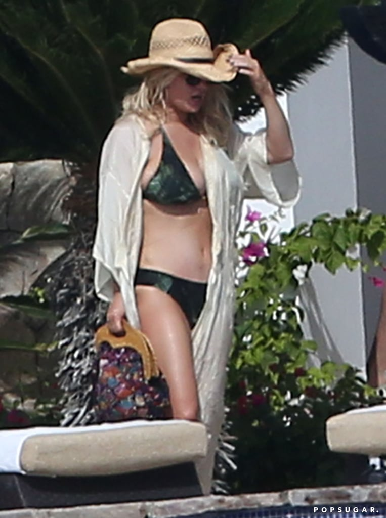In January 2016, Jessica Simpson showed off her curves in a green bikini in Mexico.