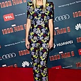 Gwyneth Paltrow stepped out at the Paris premiere of Iron Man 3 in head-to-toe floral Erdem. The bold-shoulder look was a much more covered-up — not to mention, busier — choice than some of her recent outfits, but we love her printed fashion risk-taking here.