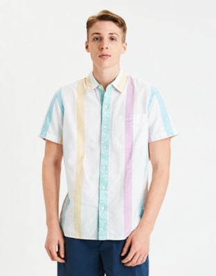 AE Striped Short Sleeve Button-Up Shirt