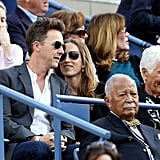 Edward Norton enjoyed a match alongside his wife.