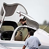Angelina Jolie takes flying lessons.