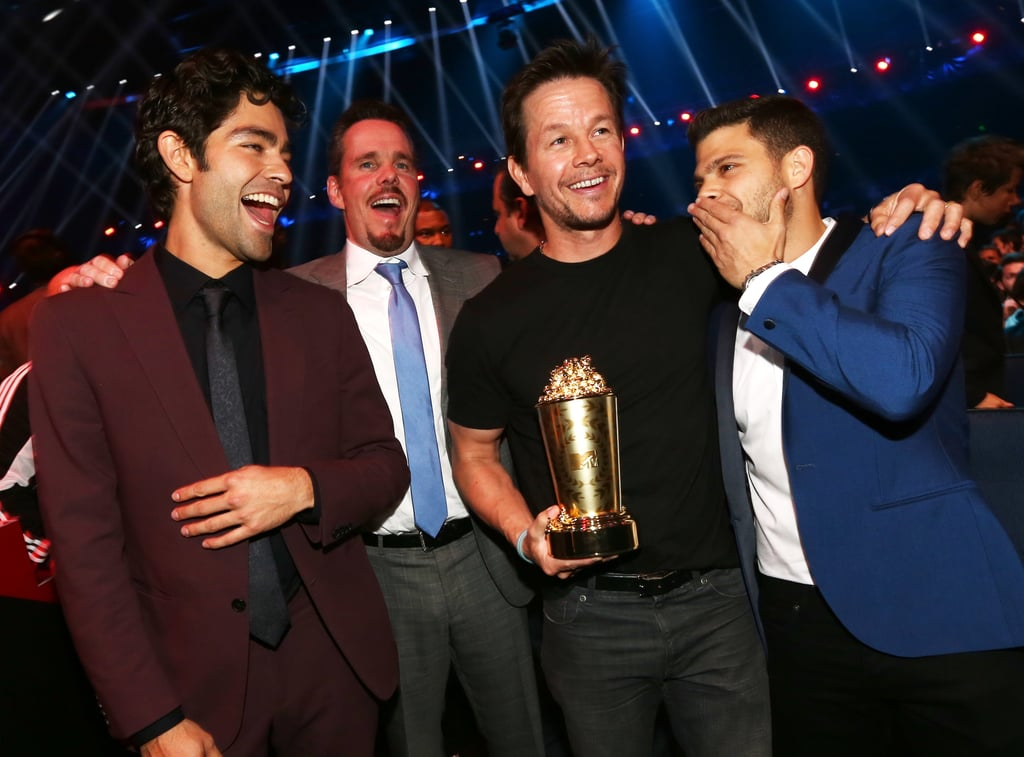 The boys of Entourage shared a laugh.