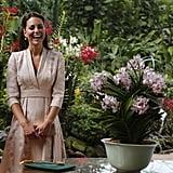 Kate Middleton wore Jenny Packham to visit the Botanical Gradens in Singapore.