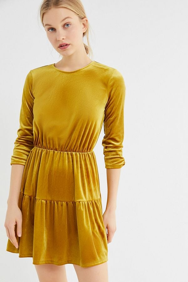 a69623c27f9a UO Velvet Tiered Mini Dress