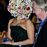 Lady Gaga's floral headpiece stole the show in Phillip Treacy's front row.