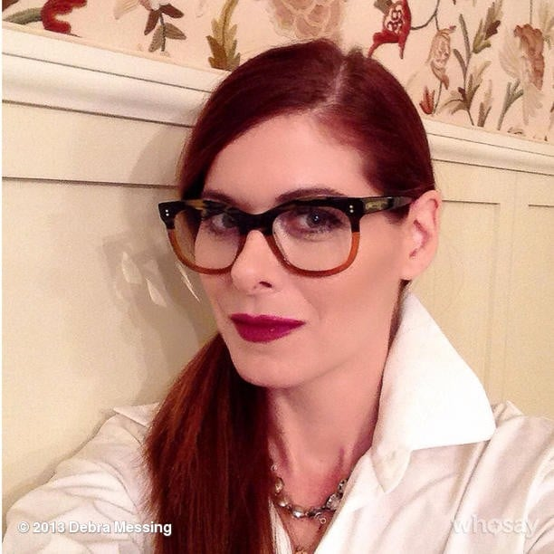 "Debra Messing snapped a selfie of her ""bookish"" look before heading to a literary launch party. Source: Instagram user therealdebramessing"