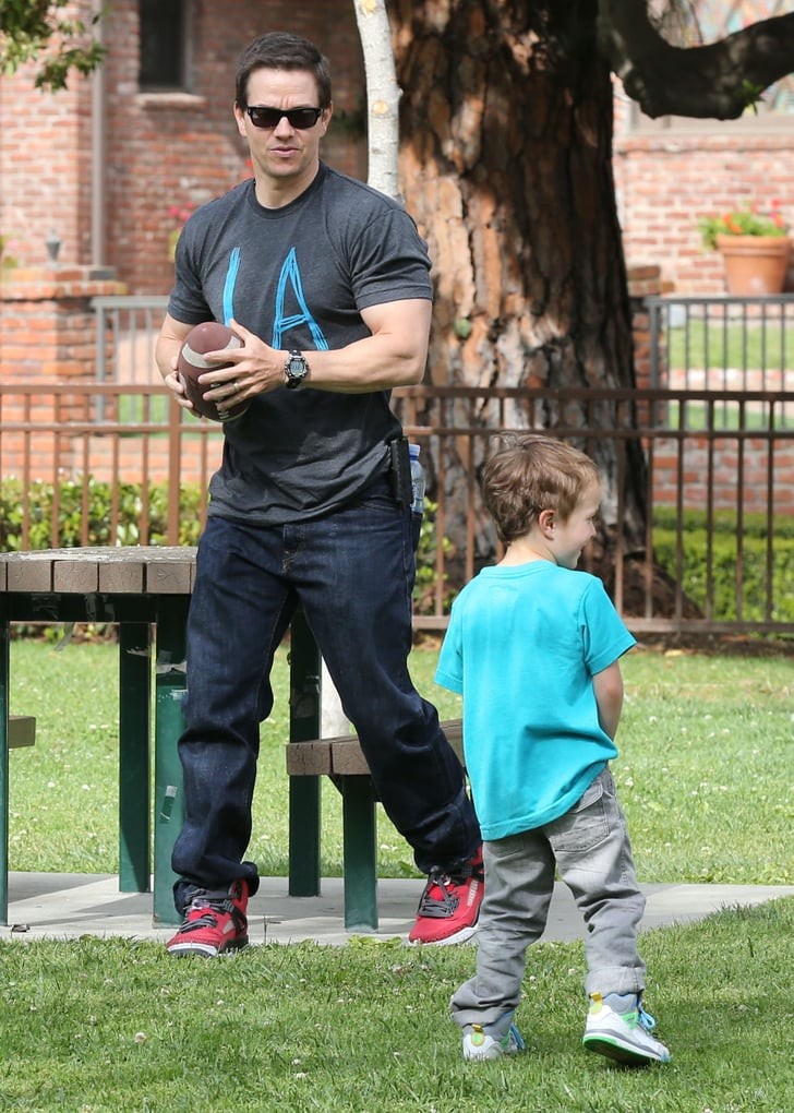 mark wahlberg with son brendan at a park pictures