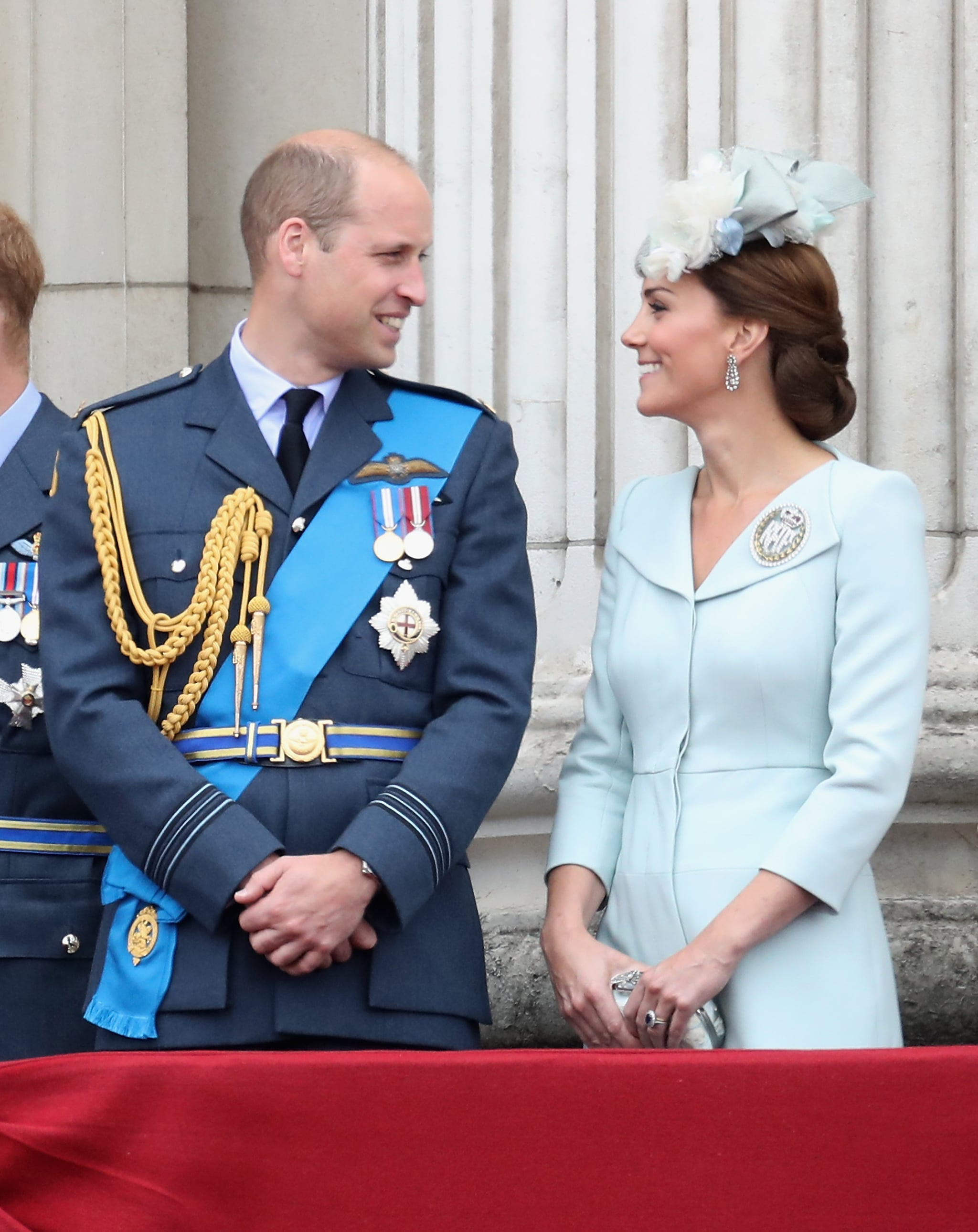 LONDON, ENGLAND - JULY 10: Prince William, Duke of Cambridge and Catherine, Duchess of Cambridge watch the RAF flypast on the balcony of Buckingham Palace, as members of the Royal Family attend events to mark the centenary of the RAF on July 10, 2018 in London, England.  (Photo by Chris Jackson/Getty Images)