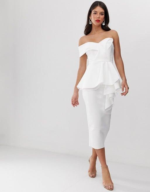 Asos Desgin Tall Organza Fold Detail Peplum Bandeau Midi Dress
