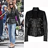 Bundle up SJP-style with a belted leather jacket.