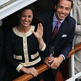 Pippa Middleton and brother James Middleton were all smiles at the Thames Diamond Jubilee Pageant.