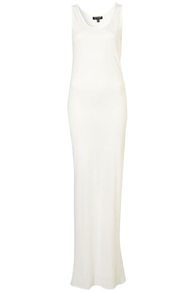 This sleek jersey dress looks like it should cost a lot more.  Topshop Racer Back Maxi Dress ($36)