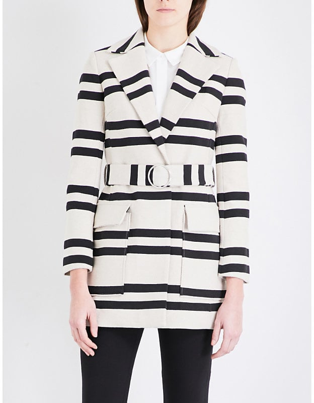 French Connection Escher Striped Cotton-Blend Mac