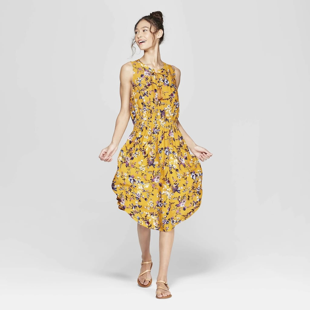 c363f8920c Floral Print Sleeveless V-Neck Cinched Waist Midi Dress