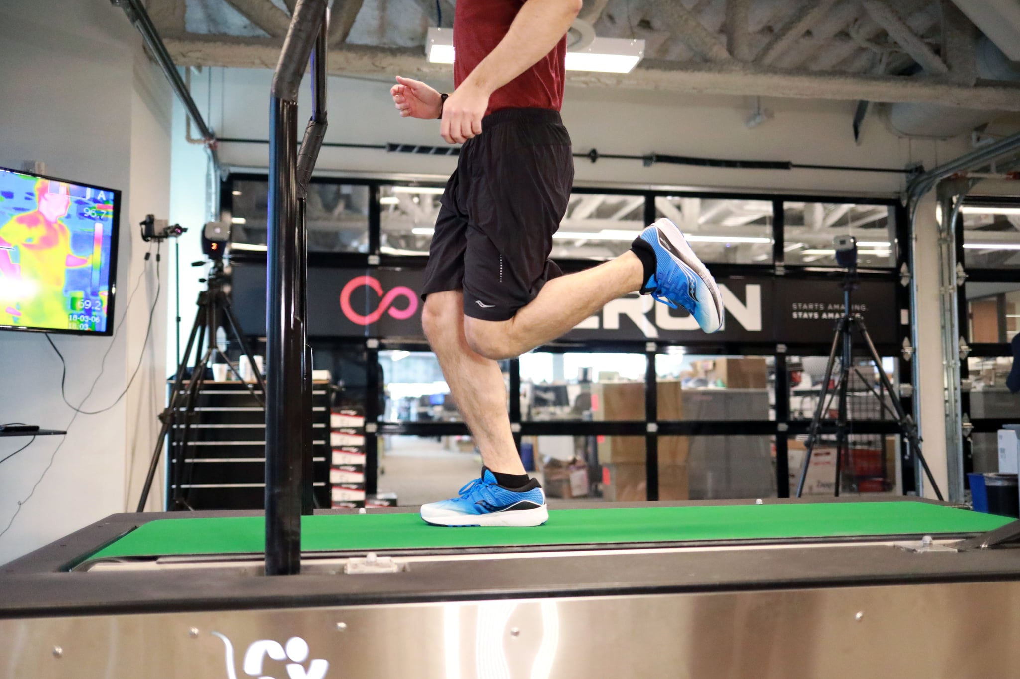 James Barrett getting his stride analyzed at the Saucony Innovation Lab (Example of Contact)