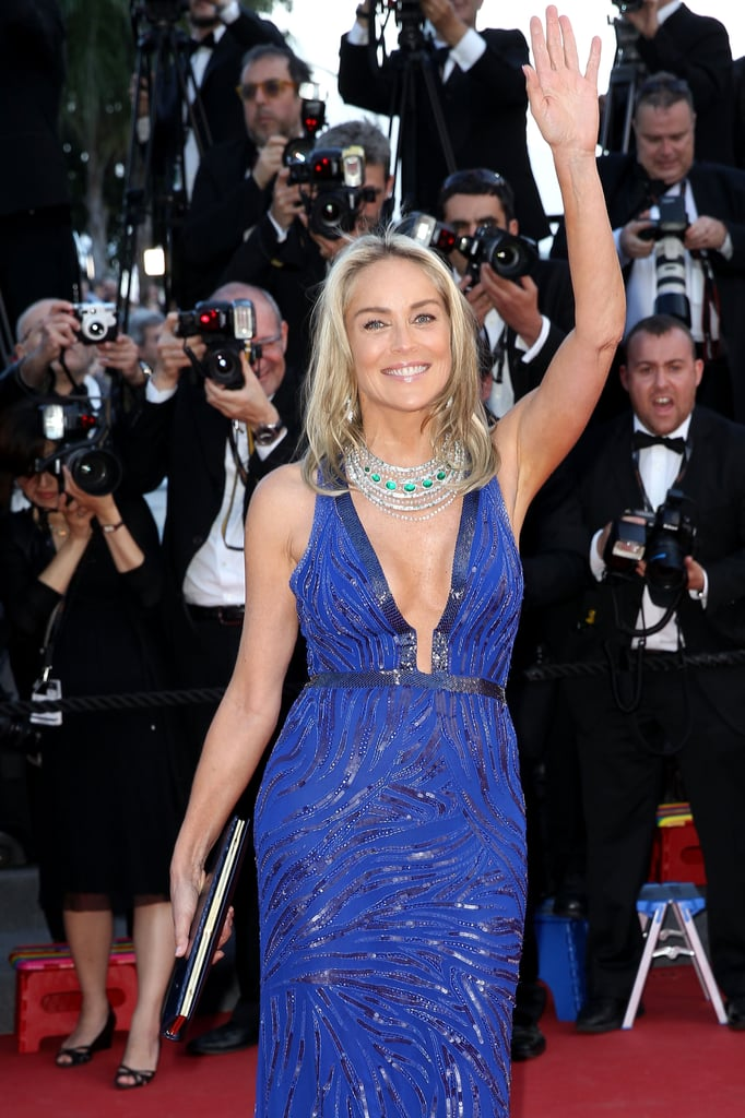 Sharon Stone waved to the crowd on Tuesday when she arrived at the Behind the Candelabra premiere.
