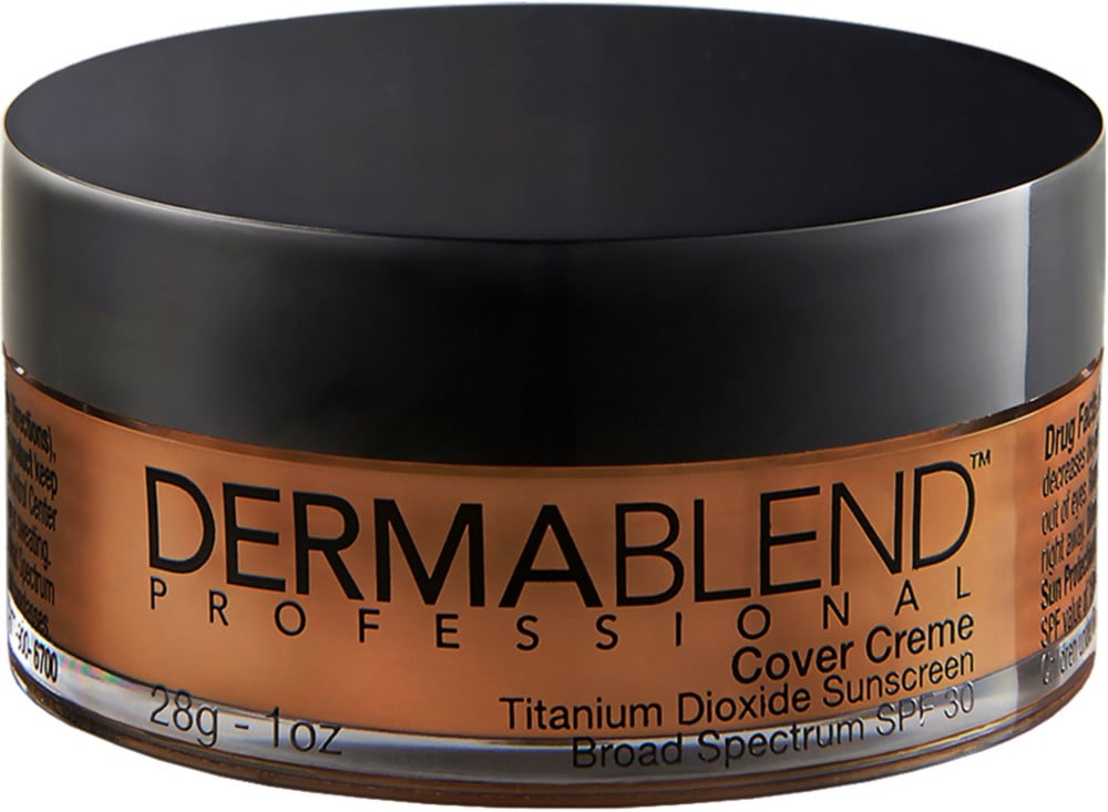 """The Dermablend Cover Creme Full Coverage Foundation ($39) is my favourite foundation for outdoor weddings, brides with skin conditions, or events taking place in hot climates. It is a velvety cream foundation with a 16-hour smudge and transfer-resistant wear. Plus, is contains an SPF 30, to protect the skin from sun exposure. It has a high concentration of pigments to cover a variety of skin conditions including birthmarks, acne, burns, scars, hyperpigmentation, and vitiligo. For oily skin types pairing it with a mattifying setting powder."" — LS"