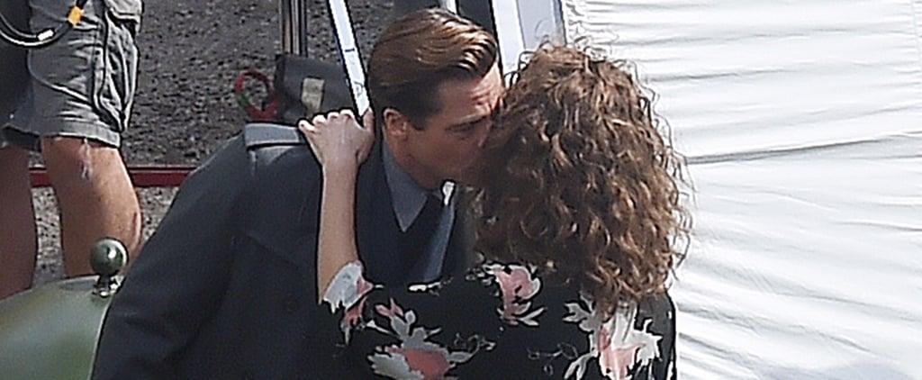 Brad Pitt Kissing Lizzy Caplan on Allied Set 2016