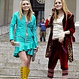 The sisters played with textures in the movie too. Jane wore a teal leather jacket and miniskirt set while Roxy opted for velvet sweatsuit paired with heels.