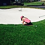 "Sarah Michelle hit the golf course with her daughter in July 2015, joking, ""Now I'm no #Golf expert but something tells me this isn't allowed. Does she get a pass on account of being only 5 and really cute? #SandTrap"""