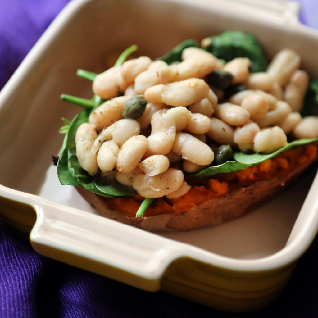 Baked Sweet Potato With Cannellini Beans and Spinach