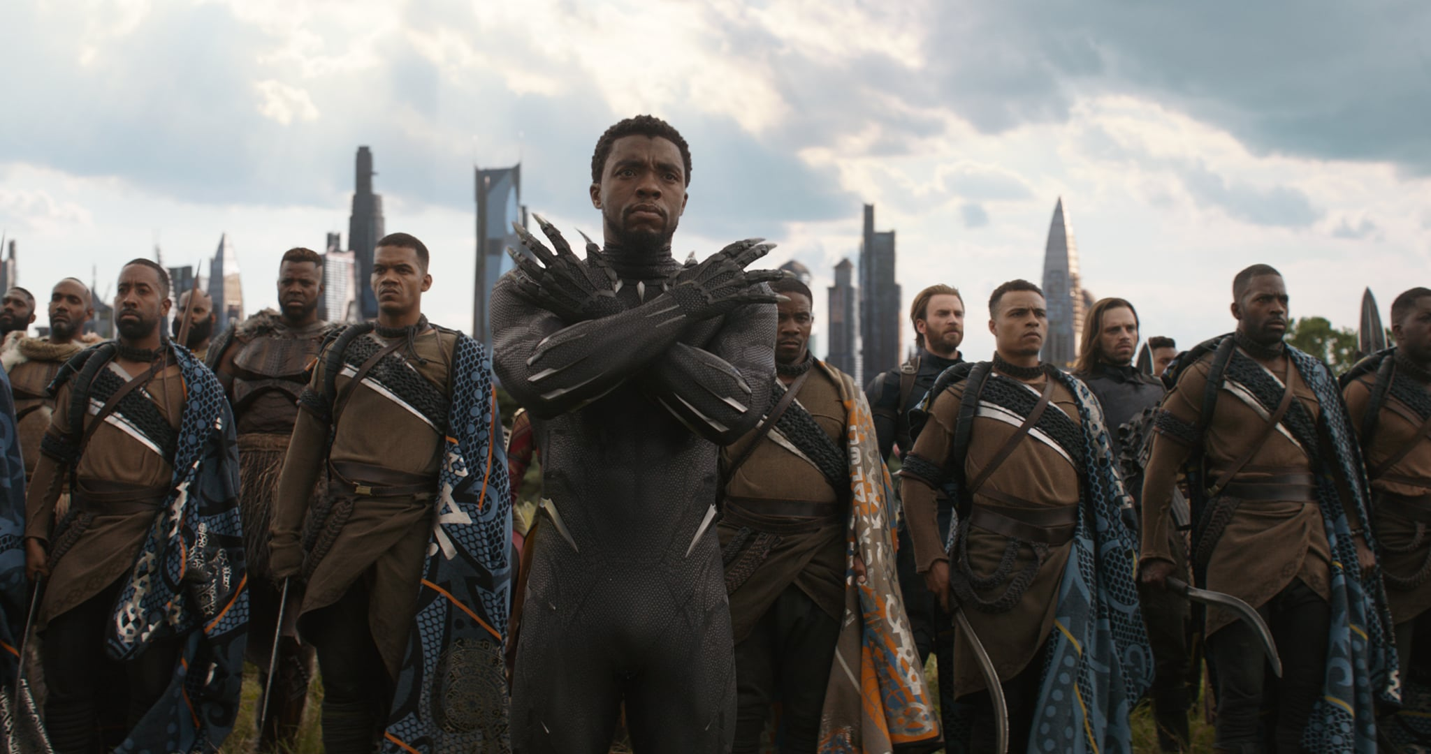 Marvel Studios' AVENGERS: INFINITY WAR..Black Panther/T'Challa (Chadwick Boseman), in b/g M'Baku (Winston Duke), Captain America (Chris Evans) and Winter Soldier (Sebastian Stan)..Photo: Film Frame..©Marvel Studios 2018
