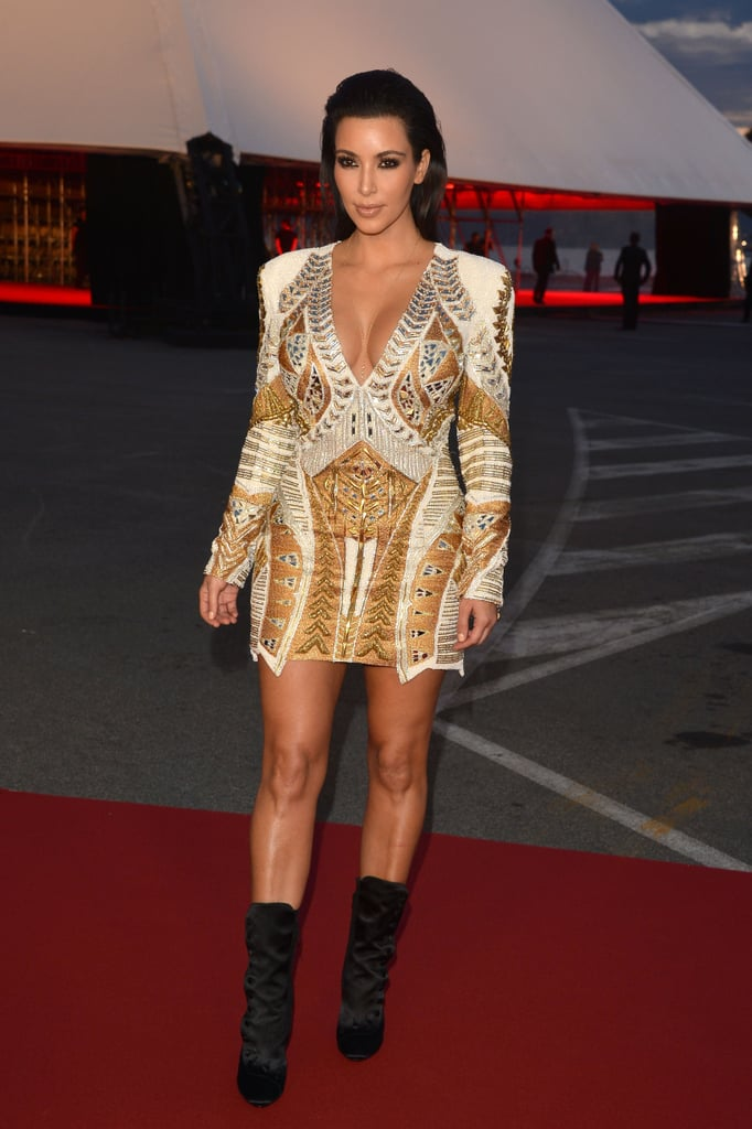 Back in 2012, Kim represented Balmain in this gold minidress at the movie premiere of Cruel Summer at the 65th Cannes Film Festival.
