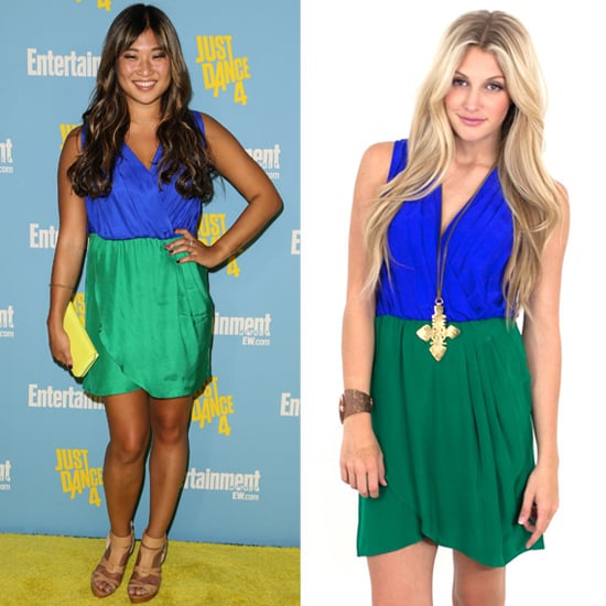 Blue and green colorblock dress