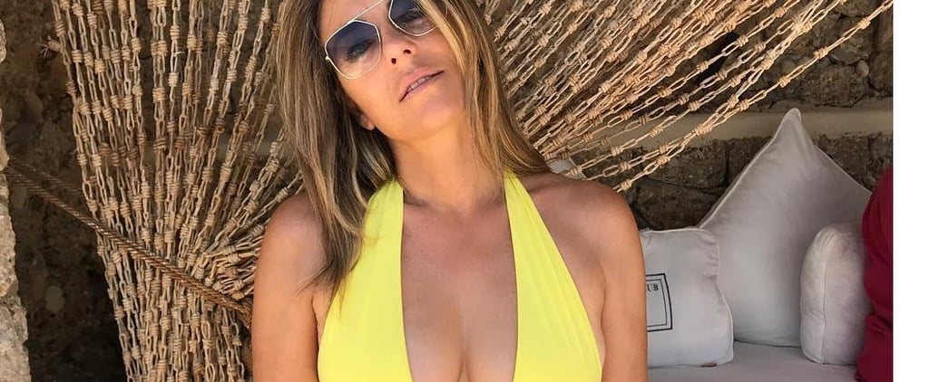 Elizabeth Hurley Leopard Swimsuit August 2018