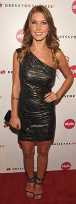 Audrina Patridge Wears David Meister One Shoulder Dress