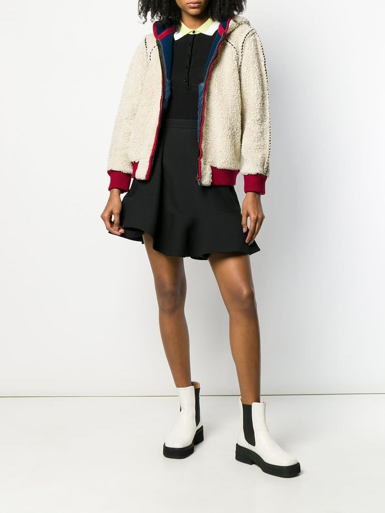 Chanel 2008s shearling effect hooded jacket