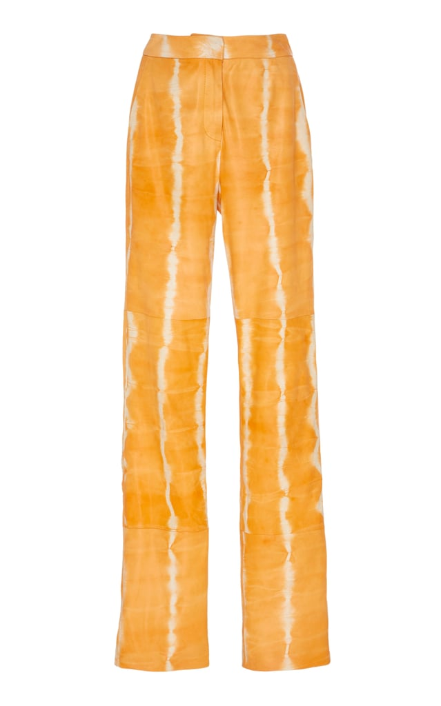 Sally LaPointe Tie-Dye Printed Leather Trousers
