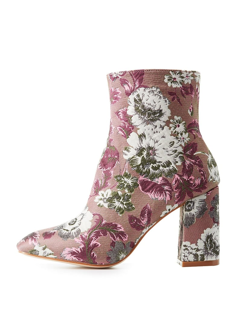 Charlotte Russe Floral Brocade Ankle Booties | Best Fall Boots ...