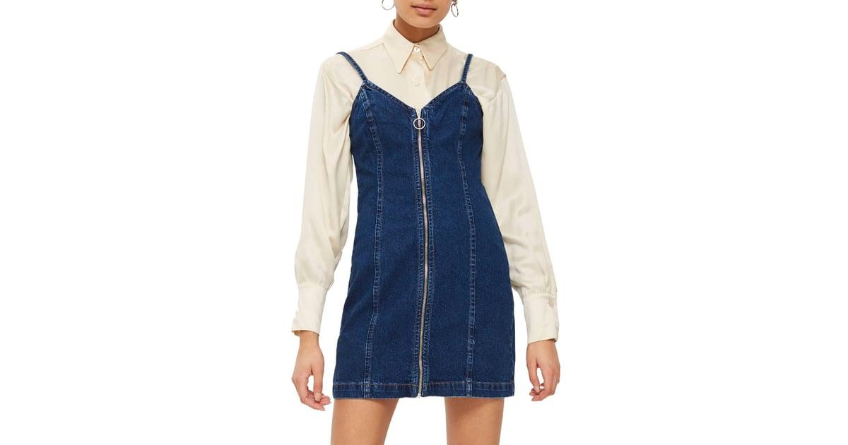 e76b469bbc Topshop Zip Through Denim Body-Con Dress