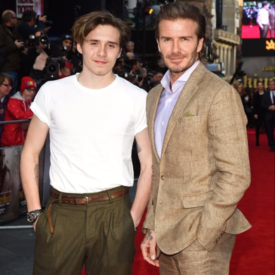 David and Brooklyn Beckham at King Arthur London Premiere