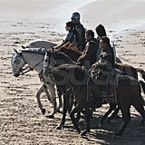 Kristen Stewart, on horseback, was joined by four costars for a scene.