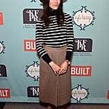 Abigail Spencer evoked a Parisian vibe via the stripes and wide-brimmed fedora.