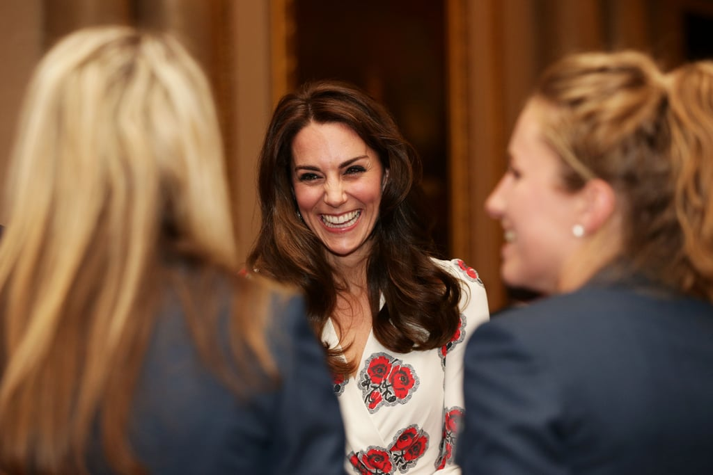 "Prince William, Kate Middleton, and Prince Harry continued their busy month by attending a reception welcoming Team GB's Olympic and Paralympic athletes at Buckingham Palace on Tuesday evening. The trio, along with Queen Elizabeth II and Prince Philip, met with several of the medallists and congratulated them on their success at the Rio Summer Olympics this year. During a conversation with triple gold medallist Natasha Baker, Kate —  who stunned in a floral-print Alexander McQueen dress — revealed that Prince George likes fencing, saying, ""George is fascinated by fencing, but I think that's because of the face shields."" She also spoke about Princess Charlotte's love for horses (yes, just like her grandmother), and joked, ""Charlotte would have loved to be here, but she'd be running riot!"" Meanwhile, Prince Harry was his usual charming self and fulfilled Olympic swimmer Ellie Simmonds's dream by giving her a hug. She gushed to People, ""It was the first time I'd met Harry and he gave me a hug. I must have mentioned to someone I was really looking forward to meeting him and he just hugged me!"" If only we were so lucky."