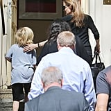 Angelina Jolie took one of her kids to a coffee house in Berlin.