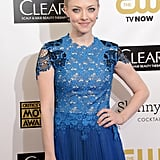 Amanda Seyfried wore a blue gown with a lace top.
