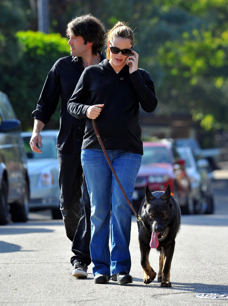 Ben Affleck stepped out in Pacific Palisades yesterday on a casual walk with his wife, Jennifer Garner, and their four-legged companion. Jen kept her baby bump under wraps while Ben showed off a handsome new look. It appears Ben shaved off the beard he was growing for his CIA thriller, Argo. Ben wrapped production on the film prior to the holidays, and since then he's been enjoying time with his girls Jen, Violet, and Seraphina.  The past year was full of exciting Garner-Affleck moments, and the next 12 months are looking to be just as memorable for the expanding family. The new year brings with it the third child for Ben and Jen as well as exciting big-screen debuts. Jen has The Odd Life of Timothy Green expected to hit theaters in August, and Ben's planning to release his latest directing project, Argo, in September.