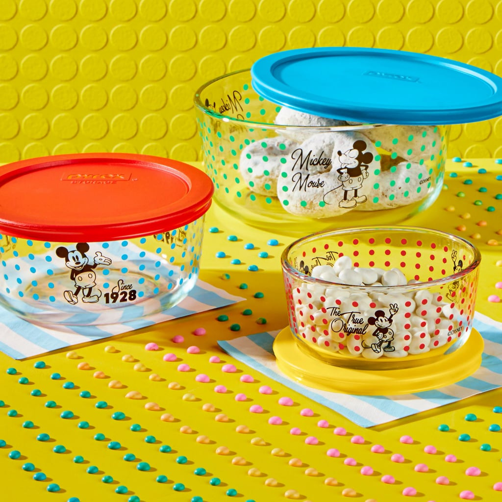 "Shortly after releasing its Star Wars collaboration in May, Pyrex just unveiled another iconic collaboration: a limited-edition Mickey Mouse collection of colorful, polka-dotted kitchen containers featuring illustrations of the cartoon character.  Here are the deets: there are four containers — each with its own distinct design — being individually sold for $10, while a set of three containers of varying sizes is also available for $30. Unsurprisingly, the collectibles managed to sell out within a day, but Pyrex assured its Instagram followers that a restock would be happening at some point.  In a press statement, Corelle Brands CEO Ben Gadbois said, ""Collaborating with Disney allows us to bring one of the world's most recognizable characters into the homes of all his fans, creating magical moments in the kitchen every day."" Browse the complete collection ahead, and keep an eye out for that future restock!      Related:                                                                                                           Disney Villains Take on Internet Memes in These Painfully Accurate Coffee Mugs"