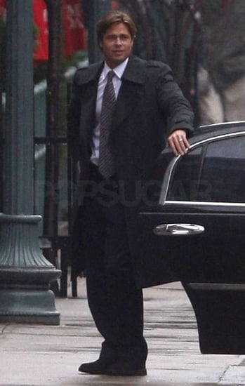 Pictures of Brad Pitt Filming Moneyball at Fenway Park in Boston