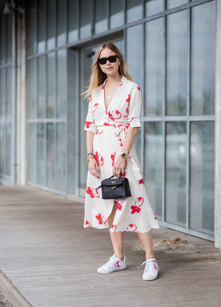 Wear a Wrap Dress With White Sneakers